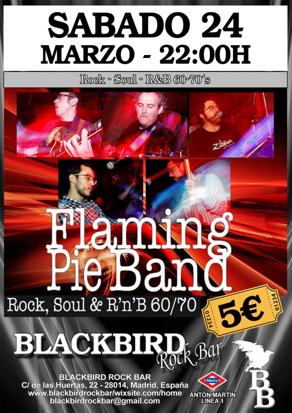 FLAMING PIE BAND BANDA DE VERSIONES ROCK POP SOUL RHYTHM AND BLUES 60 70 DE MADRID