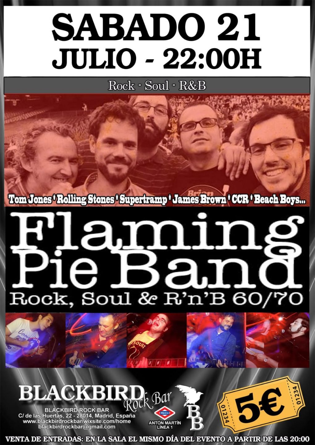FLAMING PIE BAND BANDA VERSIONES ROCK POP SOUL 60 70 MADRID BLACKBIRD JULIO 2018