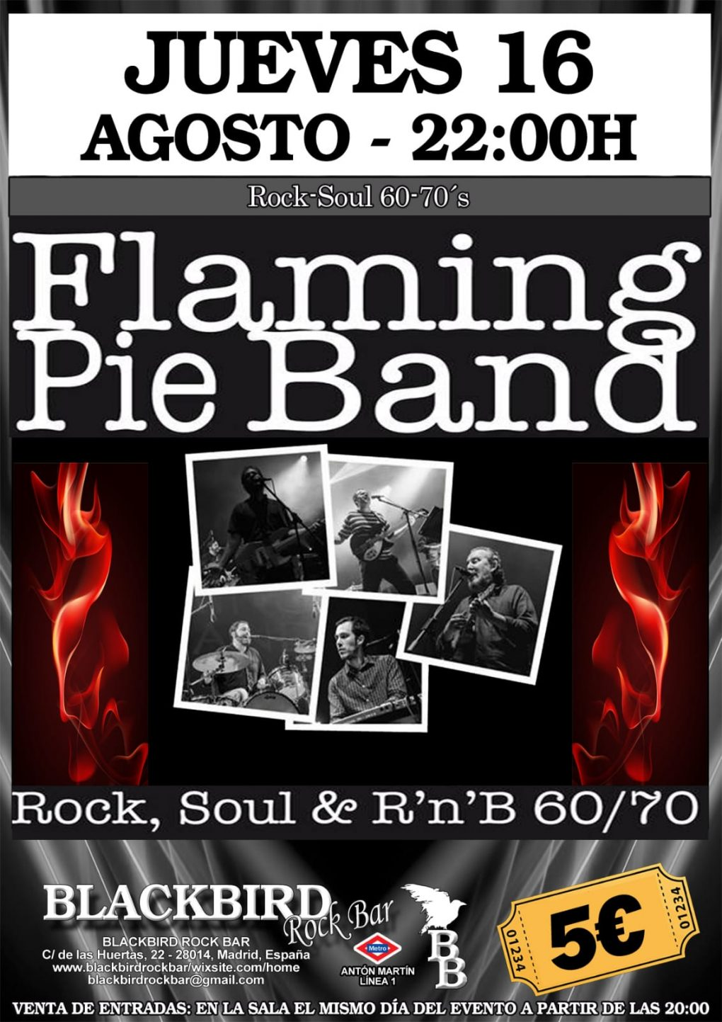 FLAMING PIE BAND BANDA DE V ERSIONES ROCK POP SOUL 60 Y 70 DE MADRID EN BLACKBIRD