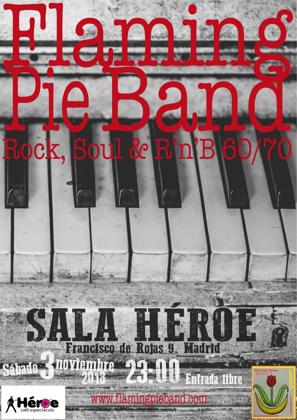 FLAMING PIE BAND BANDA DE VERSIONES ROCK POP SOUL MADRID SALA HEROE