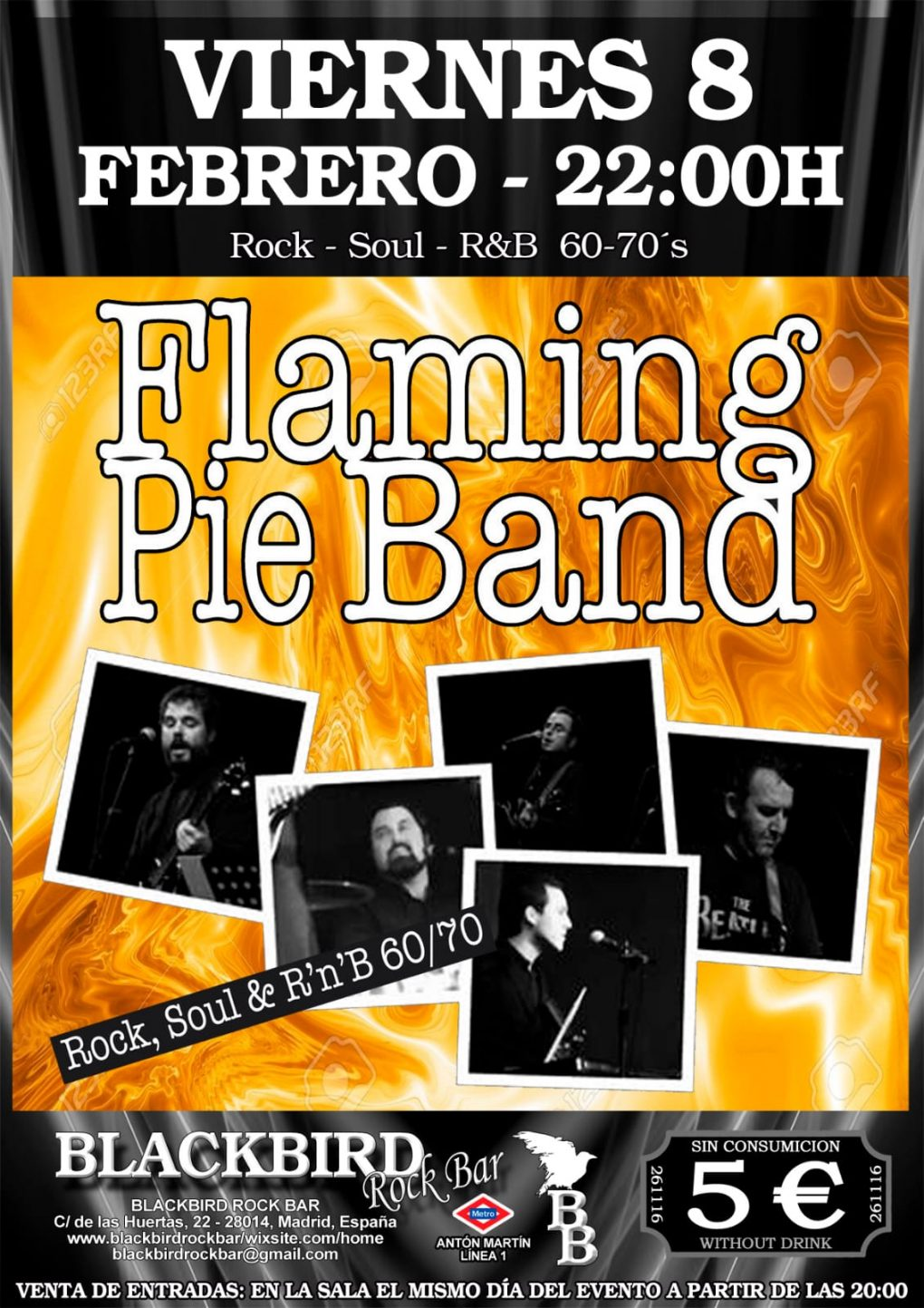 FLAMING PIE BAND BANDA VERSIONES POP ROCK SOUL 60 70 MADRID BLACKBIRD
